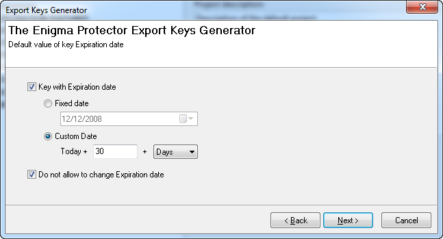 Export Key Generator - Expiration Date